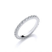 Sterling silver claw set Cubic Zirconia eternity ring